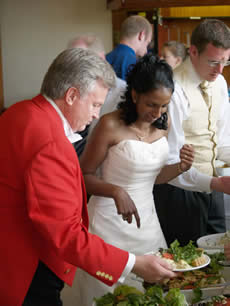 English toastmaster assisting a bride with her wedding breakfast